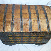 SALE Old Dowry Chest Box Trunk Wood Wheels Ornate Metal