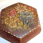 SALE Vintage Hand Painted Box Tole Jewelry Trinket Dresser