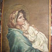 Antique 1905 Painting Church Banner Madonna after Ferruzzi Madonnina