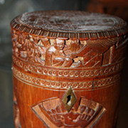 Antique Bamboo Oriental Tea Caddy Asian Chinese Box 19th Century