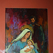 SALE Vintage Norcross Christmas Nativity Painting Original Art Bold Oil