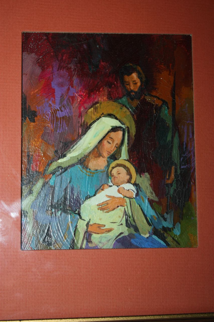 Vintage Norcross Christmas Nativity Painting Original Art Bold Oil