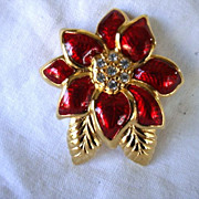 SALE Vintage Monet Christmas Poinsettia Brooch Pin