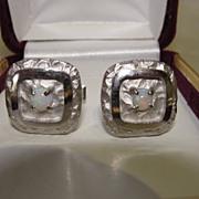 SALE Vintage Australian Opal Cuff Links Cufflinks Sterling