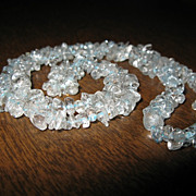 """SALE Vintage Aquamarine Chips Necklace Beads Long 22"""" inches"""