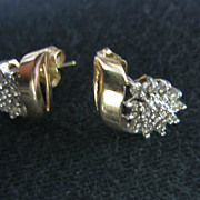 SALE Vintage 14k Diamond Earrings Studs Starburst Teardrop Cluster