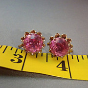 SALE 1940s Jay Kel Pink Earrings Designer Signed Sterling