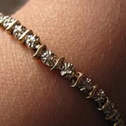 SALE Vintage 9K 375 Diamond Bracelet English Hallmarks