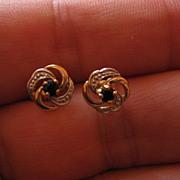 SALE Vintage 9K Sapphire Earrings Love Knots