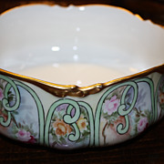 SALE Antique Limoges JPL Bowl Pouyat Roses Gold Signed Wonderful