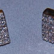 SALE 14K Diamond Cluster Earrings Studs Unisex Square Posts 10mm
