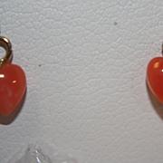 SALE Vintage 14K Coral Earrings Dangle Hearts Genuine
