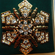 SALE Vintage Monet Brooch Pin Snowflake Original Box Christmas Rhinestones