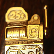 SALE Vintage Pin Brooch Slot Machine Slots Casino AJC Goldtone