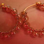 SALE 14K Pearl Hoops Earrings Cultured