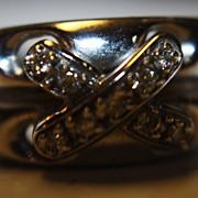SALE 14K Diamond Ring Criss-Cross X Unisex WG Heavy
