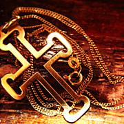 """SALE 18K 750 Chain Necklace Cross 22"""" Gold Unisex"""