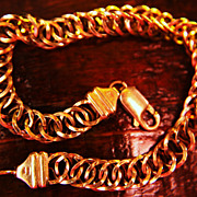 SALE 14K Bracelet Gold Link Double Weave Italy Unisex