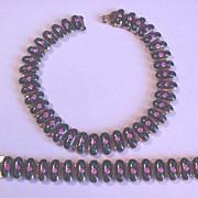 Superb Vintage Enameled Rose Necklace and Bracelet