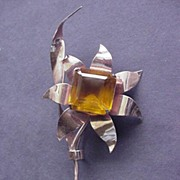 Large Coro Rose Gold over Sterling Silver and Topaz Glass Pin