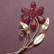 Vintage Coro Sterling Craft  Ruby Red Glass Flower Pin