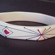 Vintage Hand Painted Geometric Designed Plastic Bangle Bracelet