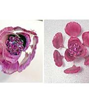 Vendome Pink Enamel and Rhinestone Open / Closed Flower Bloom Pin