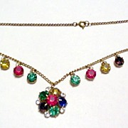 Czechoslovakia Bold Colors Rhinestone Drops Necklace