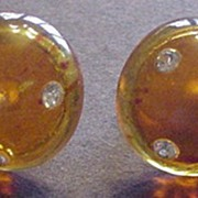 Amber Lucite & Clear Rhinestones Forbidden Fruit Earrings