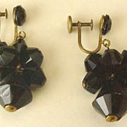 West Germany Black Glass Earrings