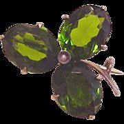 Antique Green Rhinestone Clover Pin