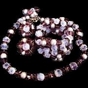 Hobe Vibrant Violet Glass Necklace Set