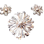 Trifari Spiraling Floral Brooch and Earrings