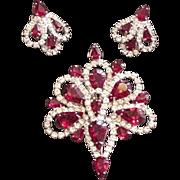 Ruby Red Rhinestone Pin and Earrings