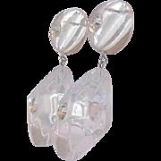 Big Clear Lucite and Rhinestone Earrings
