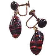 Tiger Stripes Art Glass Earrings