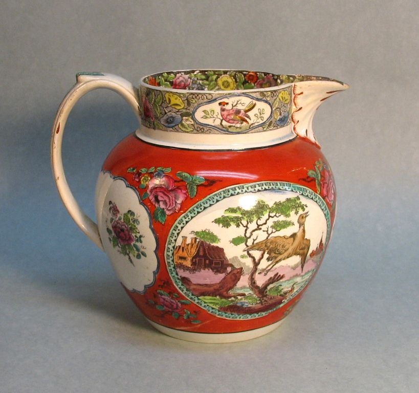 Huge Pearlware Polychrome and Transfer Pitcher circa 1825