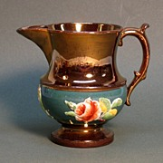 Copper Luster and Polychrome Pitcher ca. 1845-55