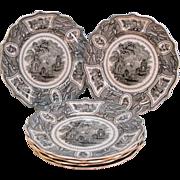 "Six Staffordshire Plates ""Valencia"" ca. 1835"