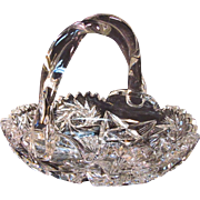 Cut Glass Basket Form Dish ca. 1900