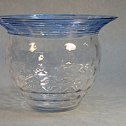 Art Glass Vase with Threaded Decoration