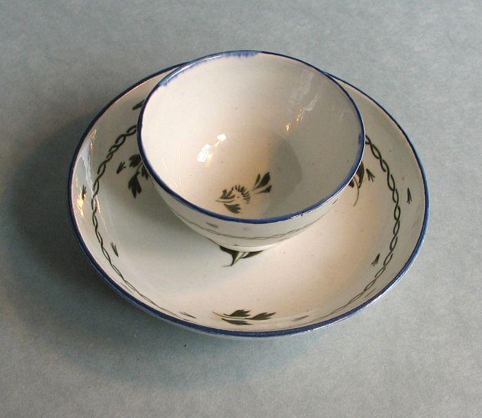 Pearlware Tea Bowl and Saucer circa 1800