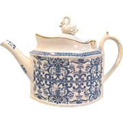 Pearlware Teapot with Swan Finial ca. 1800 (restored)
