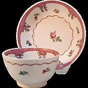 New Hall Tea Bowl and Saucer ca. 1795