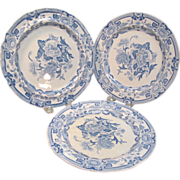 Three Mason's Ironstone Blue and White Plates ca. 1825
