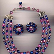 REDUCED Signed Karu Arke Pink & Blue Variegated Bead Necklace & Earrings