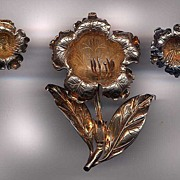 41.3 Grams Of Gold Washed Sterling Large Flower and Earrings Set