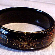 Hand Painted Signed Black Lacquer Bracelet