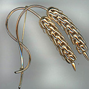 REDUCED Signed Gold Metal Dangling Wheat Pin