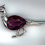 REDUCED Signed Reja Sterling Faux Amethyst Pheasant Pin